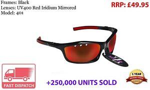 RayZor Black Sports Wrap Sunglasses Uv400 Vented Red Mirrored Lens (401)