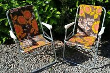 Vintage Retro Floral Folding Garden Deck Chairs Camping VW Brown Orange 60s 70s