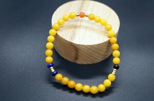 Natural Honey Amber Round Beaded Bracelet 5.2mm With Gold-filled Stackable Her