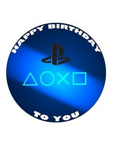 """7.5"""" 19cm PLAYSTATION PERSONALISED WAFER/FONDANT PAPER CAKE TOPPER"""