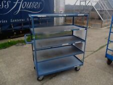 ALL METAL INDUSTRIAL LARGE PICKING WAREHOUSE STOCK TROLLY ON REVOLVING CASTORS