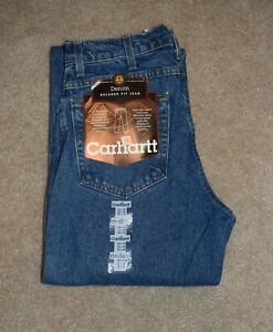 New Mens Carhartt Jeans 32 X 38 Relaxed Fit Tapered Leg Cotton Denim