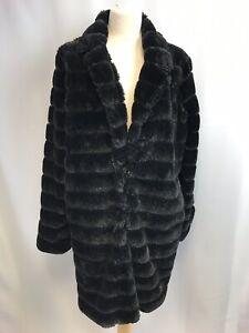 Gianni Feraud Super Wearable Ladies Fake Fur Black Coat,Preloved, Size16, GC