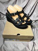 Kork-Ease Black Leather Platform Wedge Heels Ankle Strap Sandals AVANA SZ 7