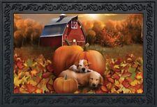 """Welcome Fall Puppies Doormat Pumpkins Barn Indoor Outdoor 18"""" x 30"""""""