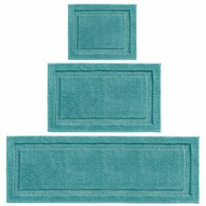 mDesign Microfiber Polyester Bathroom Spa Mat Rugs/Runner, Set of 3 - Teal Blue