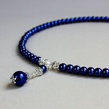 Midnight blue pearl beaded collar choker necklace silver wedding bridesmaid gift