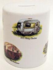 Caravan Money Box Porcelain Camping Caravans Money Box Hand Decorated in the UK