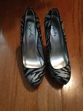 Qupid Going Beyond Zebra Black & Silver Women's Glitter Stiletto Heels, Size 6