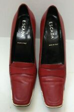 Women's ESCADA  3 1/2 inch Heel Red Leather Pumps Shoes - 37 1/2