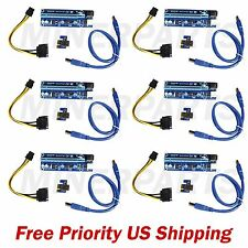 NEW 6-Pack PCI-E 16x to 1x Powered Riser 6 pin PCIe & SATA with USB 3.0 Blue v 7