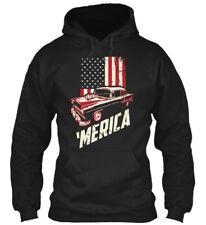 55 Chevy Tri Five Sweatshirt 'Merica USA Flag 1955 Chevy Unisex Hoodie