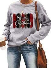 Buffalo Plaid Leopard Print Merry Christmas Trees Pullover Sweatshirt S-5XL
