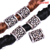 5pcs/Set Retro Alloy Viking Dreadlock Beads Braided Hole Beads Hair Rings NewN_N