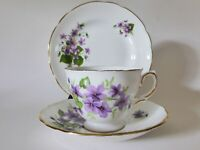 Vintage Violets Tea Trio, Royal Vale Cup and Saucer + Regency Plate, Bone China