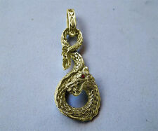 Solid 14K Gold Large 3D Sea Monster Serpent Dragon Pendant Genuine Red Diamonds