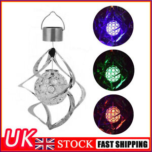 Solar LED Wind Spinner Color Changing Lamp Outdoor Hanging Wind Chime Light