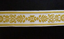 Wide cotton trim with bold embroidered flower and leaf motif  White Gold  w 5cm