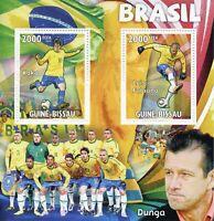 Guinea-Bissau Football Stamps 2010 MNH World Cup Brazil Kaka Dunga Soccer 2v M/S