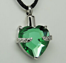 Cremation Jewelry, Green CZ Heart Urn Necklace    May Birthstone    Engraveable