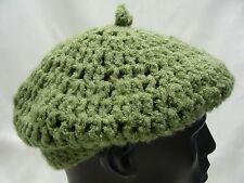 GREEN - BERET STYLE - STOCKING CAP BEANIE HAT!