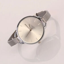 Neu Damen Mädchen Elegant Edelstahl Uhren Uhr Silver Slim Band Mode Armbanduhren