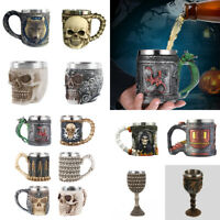Drinking Mug Resin Stainless Steel 3D Pattern Tea Wine Cup Party Bar Drinkware