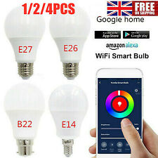 1/2/4X Wifi Smart LED Light Bulb RGB Dimmable App Remote Control for Google Home