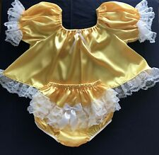 Adult Sissy Baby 2pc Yellow Satin shorty dress top and lacey rhumba panties