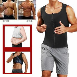 Men Sauna Vest Sweat Body Shaper Slimming Polymer Weight Loss Zipper Tank Top UK