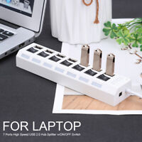 7 Port USB 2.0 Verteiler Super Speed USB HUB- Kabel USB 2.0 kompatibel Adapter