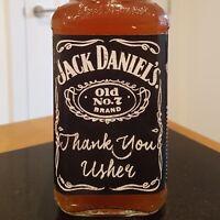 Thank you Usher chalk Whiskey bottle label sticker wedding gift keepsake