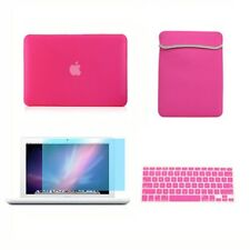 """4in1 Rubberized HOT PINK Case for Macbook White 13"""" +Key Cover +LCD Screen+ Bag"""