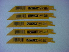 "(5) DEWALT DW4808 6""  14 TPI Straight Back Bi-Metal Reciprocating Sawzall Blade"