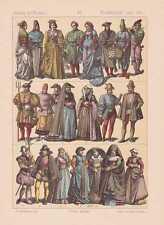 Niederländer Holländer 1480 - 1580 Mode Trachten LITHOGRAPHIE von 1883