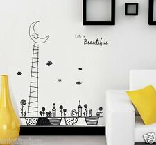 Ladder Moon Pots WALL DECAL Room Stickers Living Bedroom Decor Girls Room