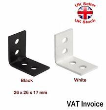Black White Small Corner Brace Angle Bracket Timber Mending Narrow Small 17mm