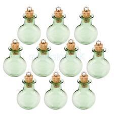 10 Small Mini Round Flat Cork Glass Bottles Vial Jars DIY Dangle W/ Loop