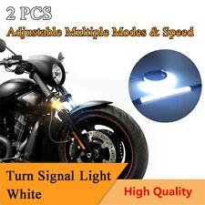 2X White Adjustable Motorcycle Fork Mount Turn Signal Indicator Light LED Strips