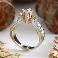 Exquisite Rose Gold Rose Floral Ring 925 Silver Flower Wedding Jewelry Size 5-10