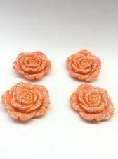 3pcs Orange AB 42mm  Flat Back Chunky Rhinestone Rose Flower Cabochons C5