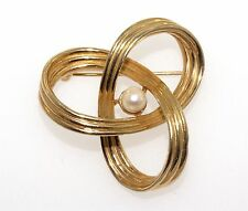 Vintage Signed Marcel Boucher Cultured Pearl Twist Knot Brooch Pin 8993P