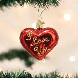 "Old World Christmas Valentines Day Ornament ""I Love You"""