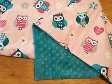 Custom Made Colorful Owls Baby Blanket 30 x 30 Cotton & Minky Multiple Owls