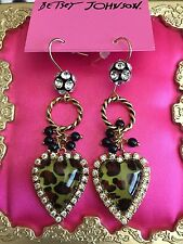 Betsey Johnson Vintage Olive Green Lucite Leopard Heart Crystal Earrings RARE