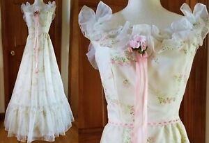 NWT Vintage Prairie Floral Lace Chiffon Ruffle MAXI DRESS Pink Rose Wedding Gown