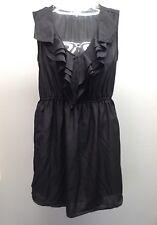 BE BOP Nordstrom ~ Black V Neck Ruffle Front Short Dress LBD size M