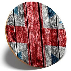 1 x Wooden Effect Union Jack - Round Coaster Kitchen Student Kids Gift #8312
