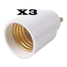 3 ADAPTATEURS DOUILLE GU10 E27 AMPOULE LAMPE culot ergots vers gros culot à vis