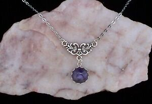 Amethyst 12 mm Cabochon, Lavalier Style Chain Necklace.Handmade In Gift Bag